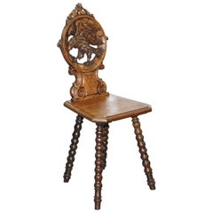 Rare 19th Century Black Forrest Carved Hall Chair Hand-Carved Hawk Bobbin Turned