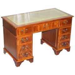 Stunning Vintage Mahogany Twin Pedestal Partner Desk with Green Leather Top