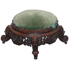 Lovely Small Hand-Carved Burmese Footstool Lovely Detailing All-Over Rare Find