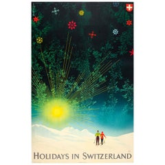 Original Vintage Skiing and Winter Sport Travel Poster - Holidays In Switzerland