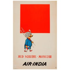 Rare Original Vintage Malevich Style Air India Travel Poster - Red Square Moscow