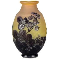Cameo Glass Vase 'Blackberry Soufflé Vase' by Emile Gallé