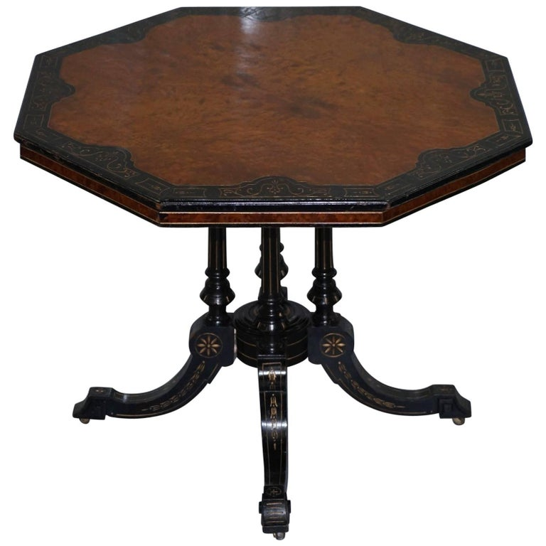 Victorian Burr Walnut and Ebonized Octagonal Aesthetic Movement Occasional Table