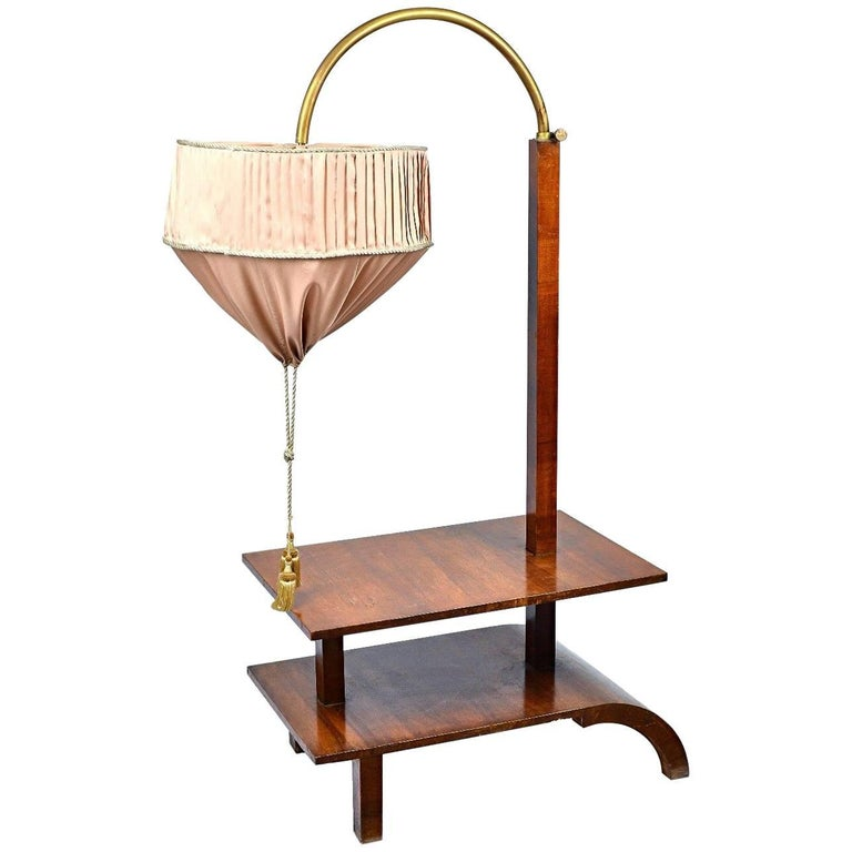 Very Rare Walnut Art Deco Large Side Table with Built in Height Adjustable Light For Sale