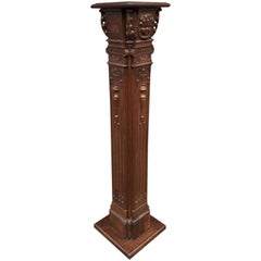 Impressive Hand-Carved Oak 18th Century, Antique Column Display Pedestal Stand
