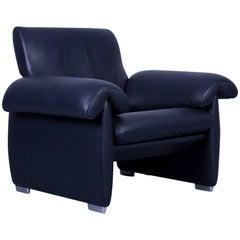 de Sede DS 10 Designer Leather Armchair Dark Navy Blue One-Seat from Switzerland