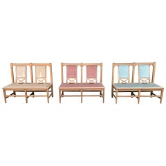 Six Arts & Crafts Matching Oak Cafe Settles or Loveseats with Shaped Back Rests