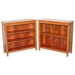 Lovely Pair of Walnut Dwarf Open Bookcases Lovely Timber Patina