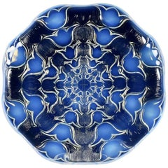 Art Deco Oplalescent Glass Plate 'Campanules' by René Lalique
