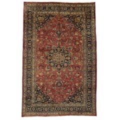 Vintage Persian Mashhad Palace Rug with Traditional Colonial and Federal Style