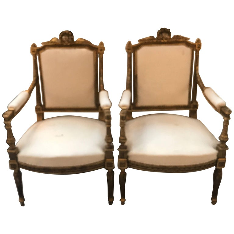 Pair of Louis XVI Style Giltwood Chairs
