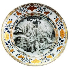 Chinese Export En Grisaille European-Subject Plate Lord Burghley