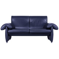 De Sede DS 10 Designer Sofa Navy Blue Leather Two-Seat Couch, Switzerland