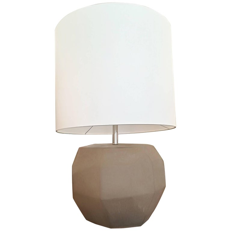 Beautiful Grey Frosted Glass Table Lamp For Sale At 1stdibs