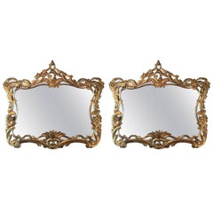 Pair of Gold Mirrors with Scrolls, 20th Century