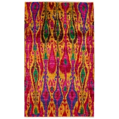21st Century Multicolored Indian Sari Silk Rug