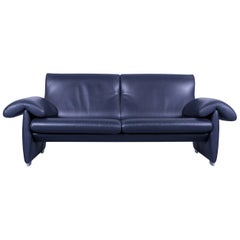 De Sede DS 10 Designer Sofa Navy Blue Leather Three-Seat Couch Switzerland