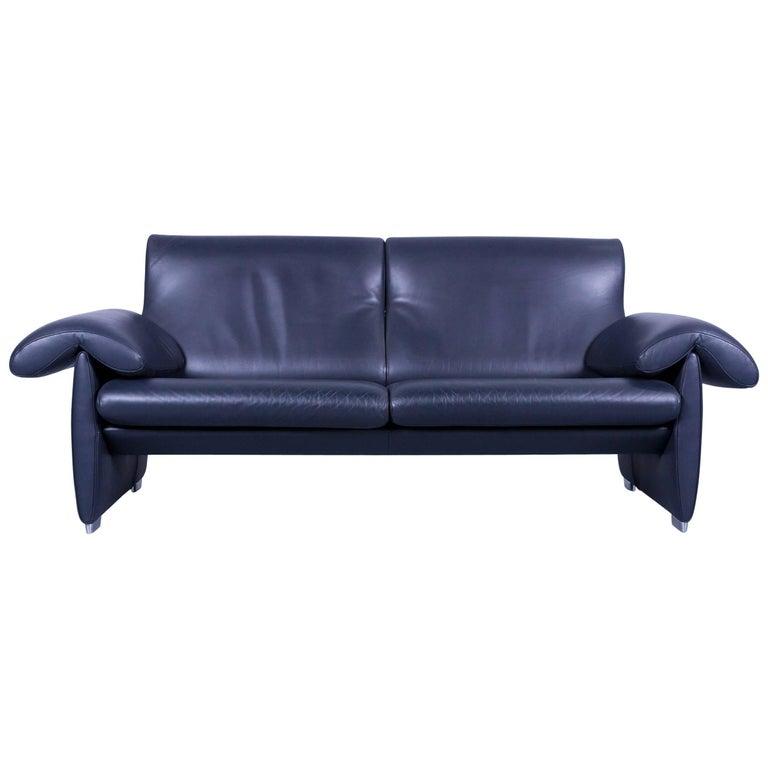 De Sede DS 10 Designer Sofa Navy Blue Leather Three-Seat Couch Switzerland
