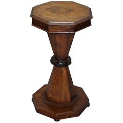 Victorian Wood and Walnut Sewing Side Pedestal Table George and the Dragon Inlay