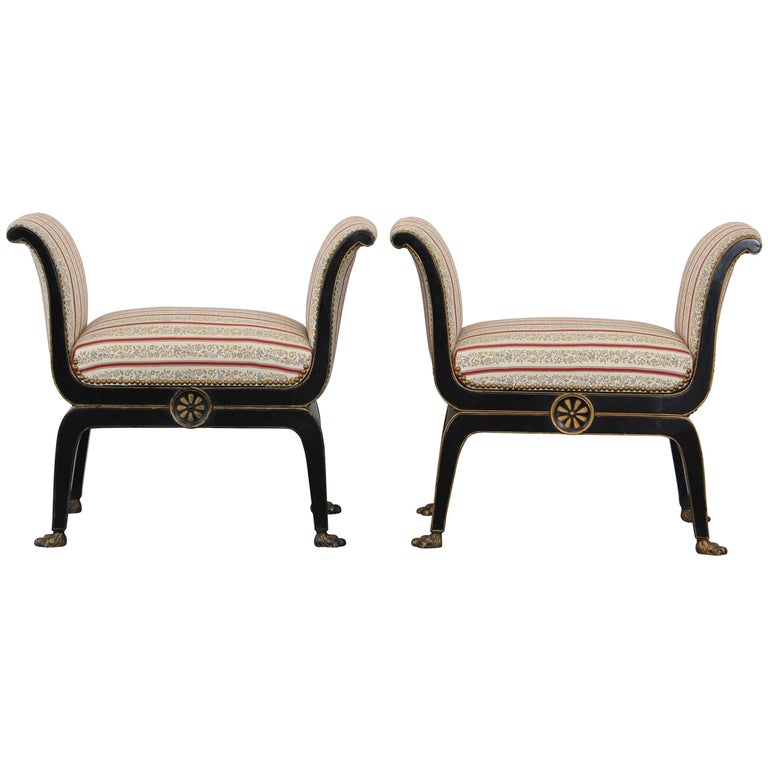 Pair of Neoclassical Directoire Ebony and Gilt Benches, 1920s