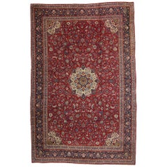 Vintage Persian Kashan Rug with Traditional Jacobean Style, Palace Size Rug