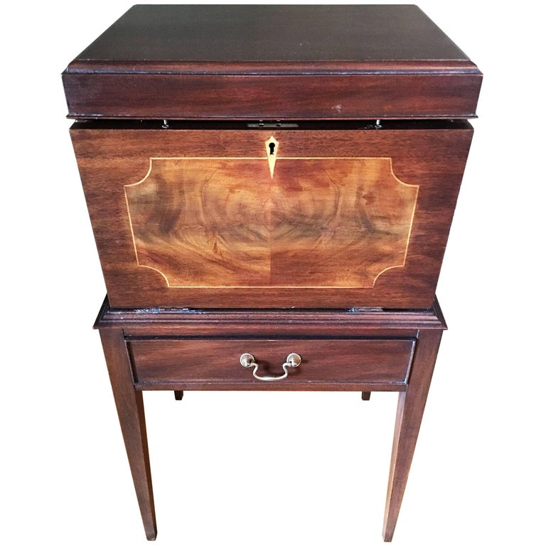 Bar Cabinet Mahogany on Stand with Inlay Decoration, Late 19th Century