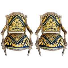 Pair of Louis XVI Style Versace Fauteuils One of a Kind