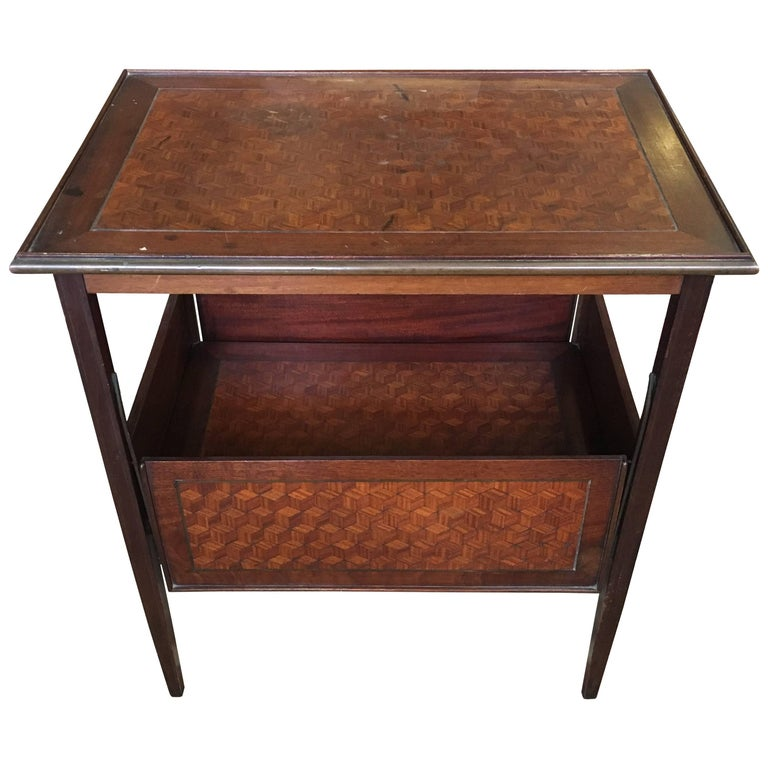 19th Century French Serving Marquetry Table with Sliding Panels