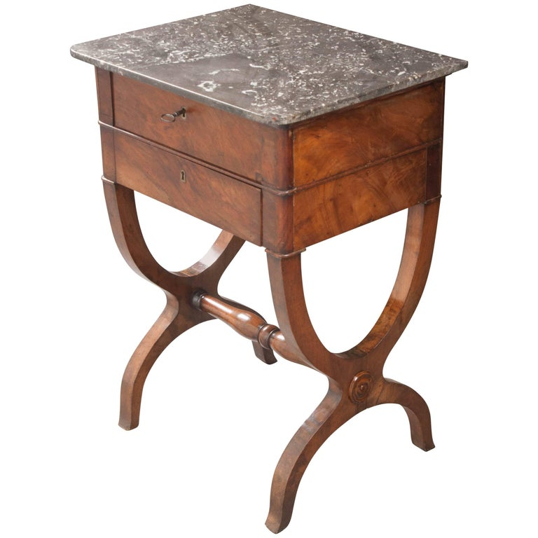 French 19th Century Marble-Top Walnut Table