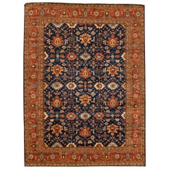 21st Century Rust and Blue Heriz Style Rug