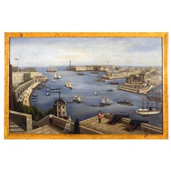 Painting of a View of Valletta Harbour, Malta, circa 1850