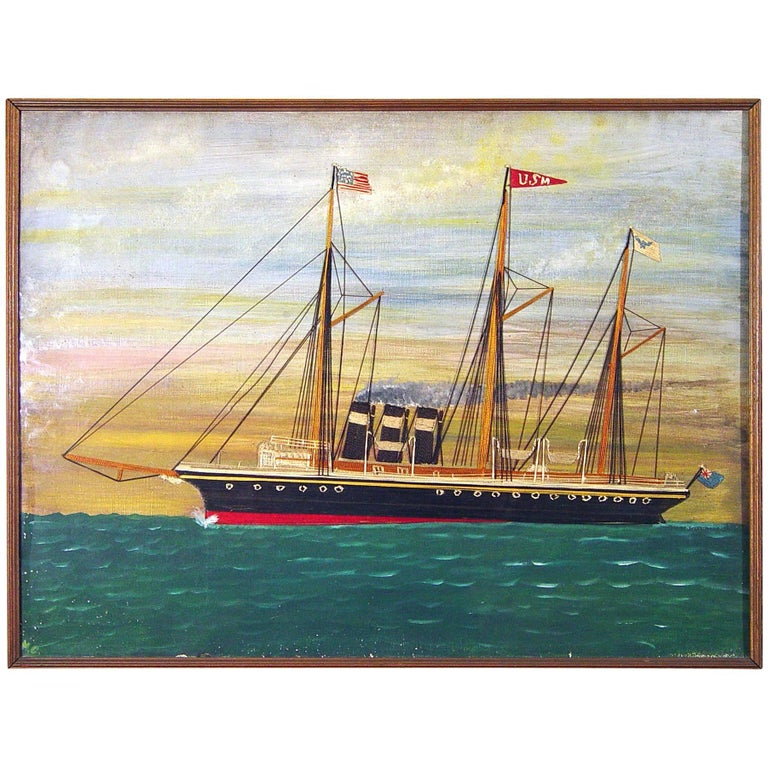 Silk and Canvas Picture of a British Ship in American Waters, Dated 1901