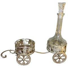 Silver Cart with Two Holders for Decanters, 20th Century