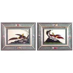 China Trade Watercolors of Birds in Églomisé Frames, circa 1840