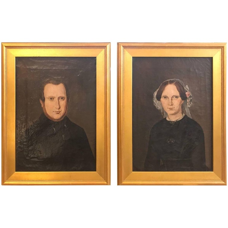 Pair of 19th Century American Portraits For Sale