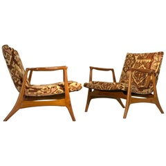 Extraordinary Pair of Lounge Chairs in Teak after Vladimir Kagan