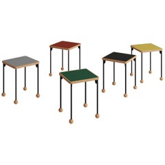 Small stools or side tables - Bauhaus style - Beech wood, metal and linoleum