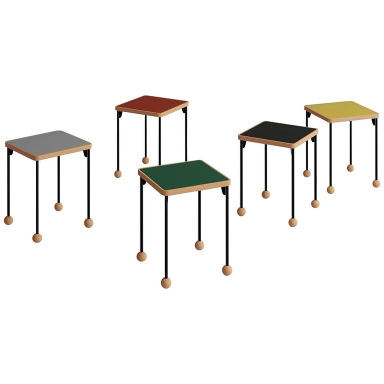 Small stools or side tables - Bauhaus style - Beech wood, metal and linoleum For Sale