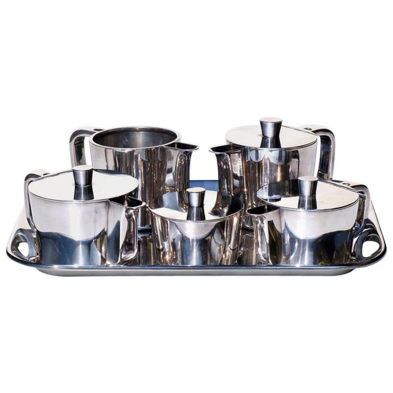 Gio Ponti by Krupp Italian Design Midcentury Alpacca Metal Serving Coffee Set
