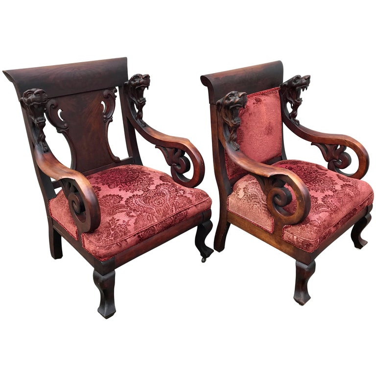 Pair of Rare His and Hers Gothic Renaissance Style Throne Armchairs by RJ Horner