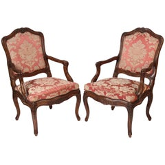 Pair of Antique Louis XV Style Walnut Armchairs