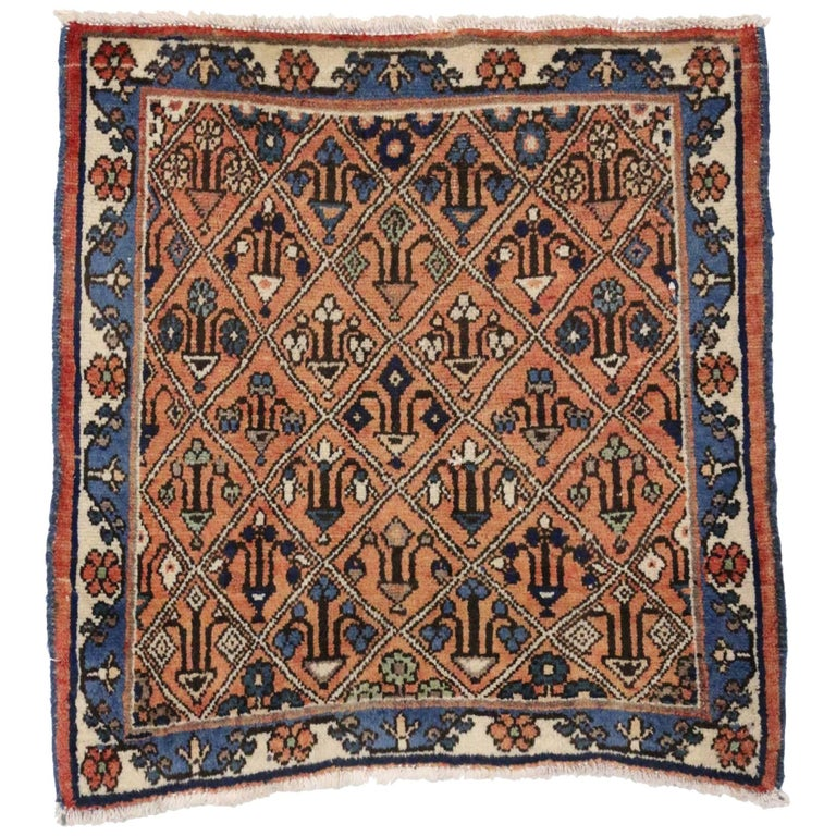 Vintage Persian Tabriz Accent Rug With Mina Khani Design Small For
