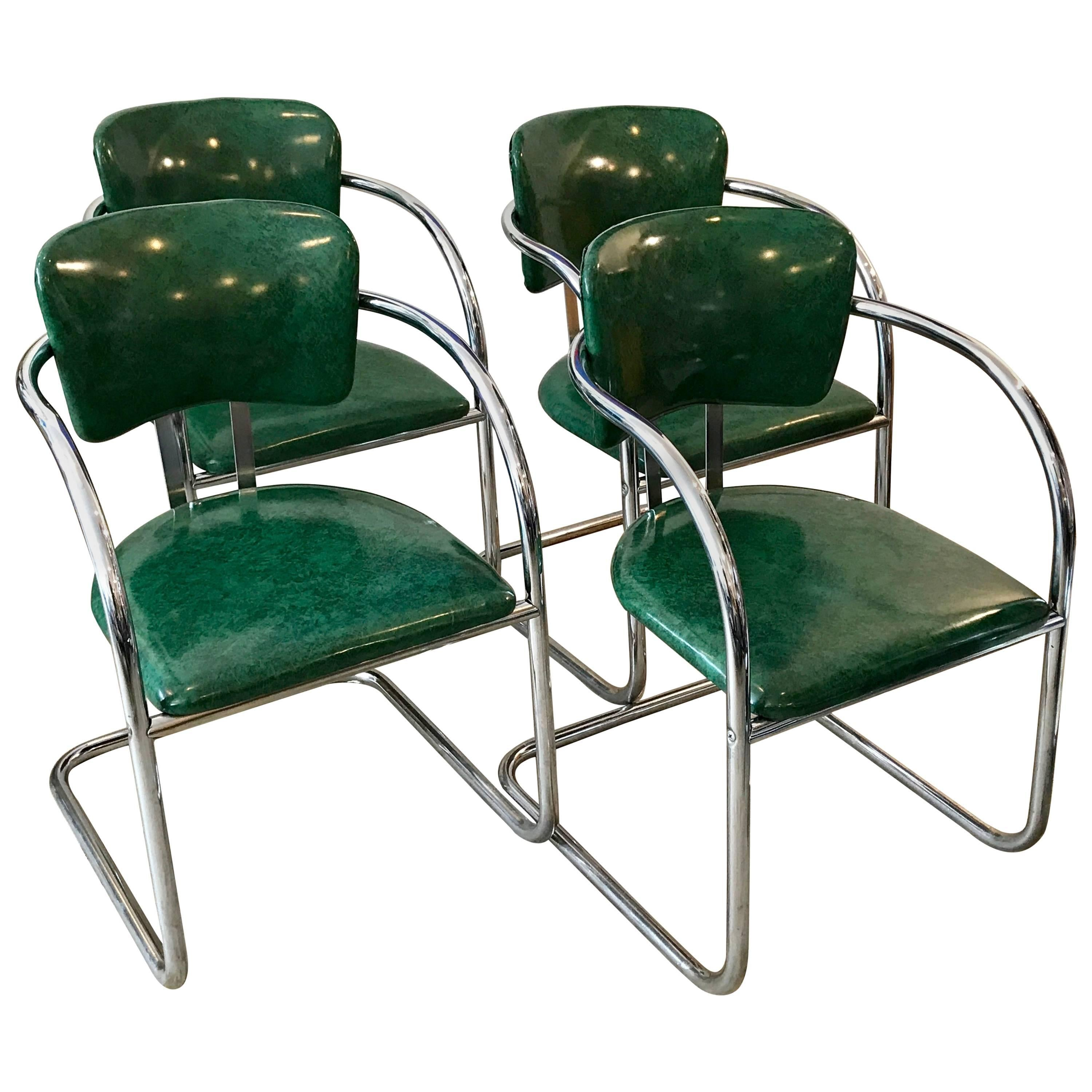 Four Chrome Streamline Modern Dining Chairs In The Style Of KEM Weber, 1930s