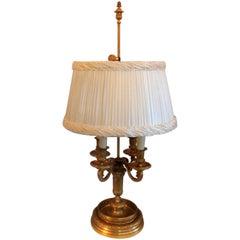 Wonderful Fine Louis XVI French Dore Bronze Bouillotte Lamp Custom Silk Shade