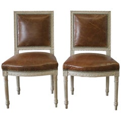 Pair of 19th Century Louis XVI Style Leather Upholstered Side Chairs