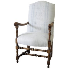Antique Accent Chair Upholstered in Antique Swedish Grainsack