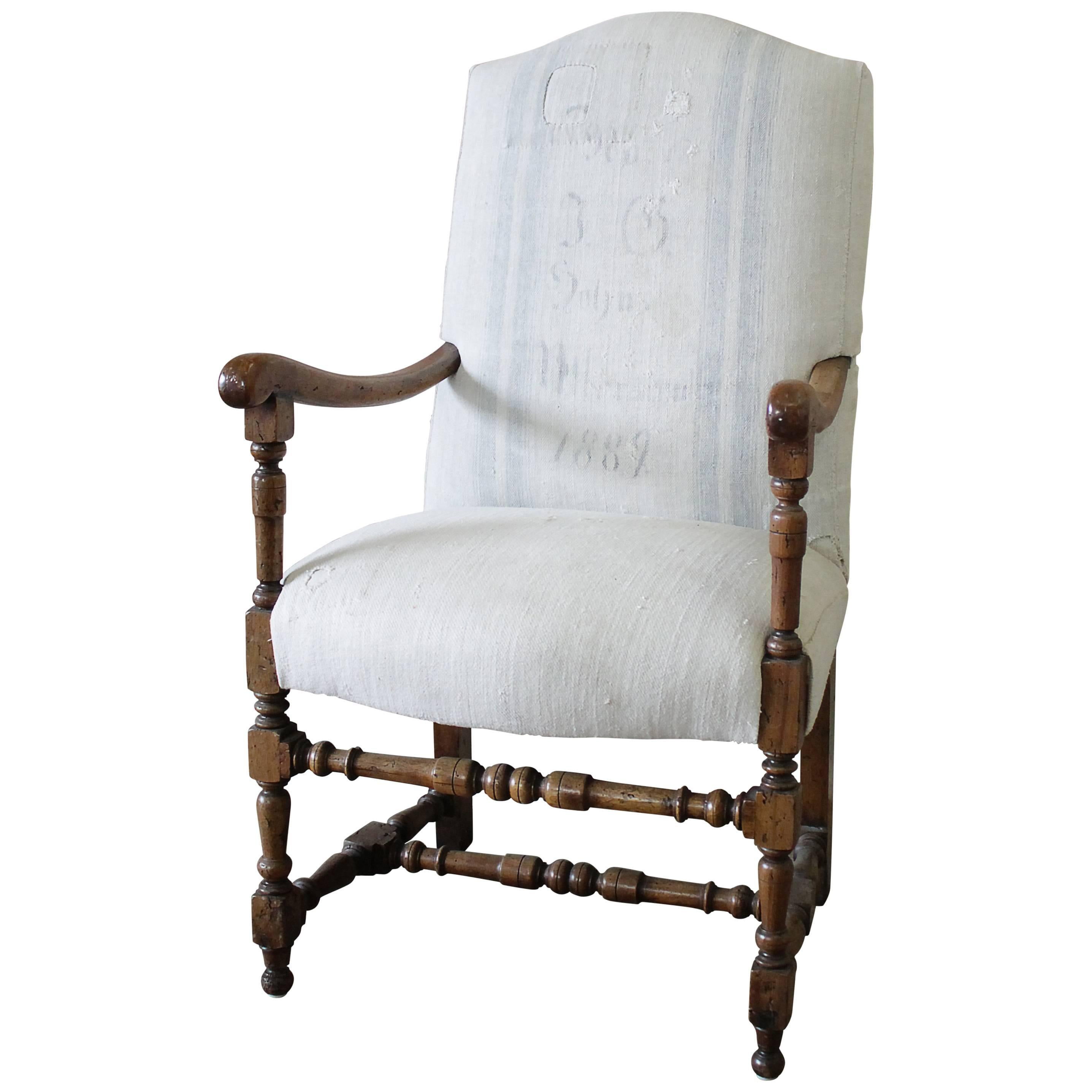 Antique Accent Chair Upholstered In Antique Swedish Grainsack For Sale