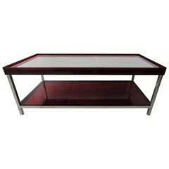 Modern Red Acrylic and Steel Coffee Table