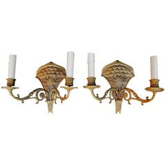 Elegant Pair of French 19th Century Bronze Sconces