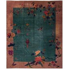 Antique Oversize Green Chinese Art Deco Carpet